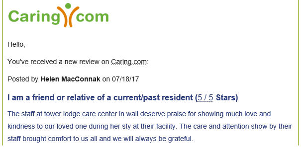 Tower Lodge Care Center, Wall NJ, Reviews