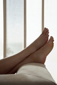 diabetic foot care: keep feet up to improve circulation